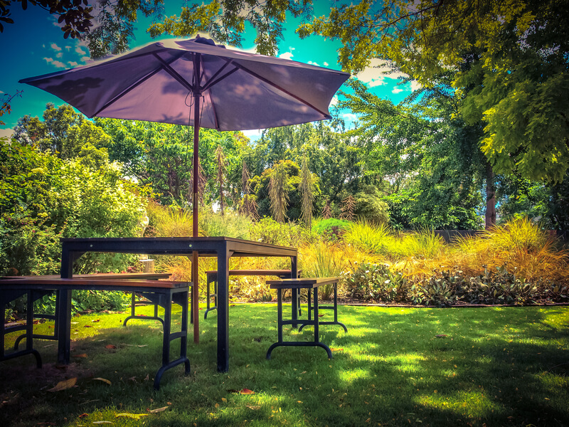 eten in de tuin