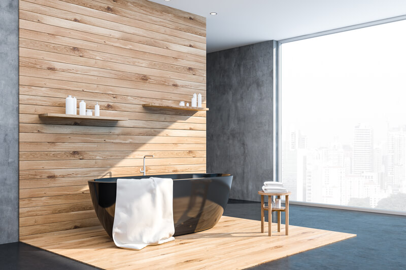 gebruik van hout in de badkamer